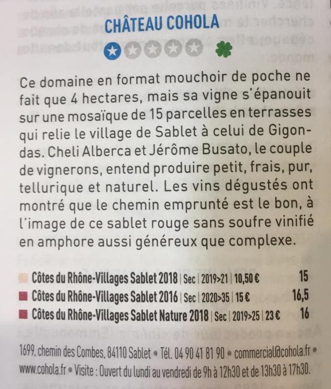 Château COHOLA - parution au BETTANE & DESSEAUVE